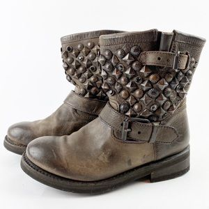 ASH Studded Motorcycle Ankle Boot Leather HH376
